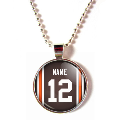 Personalized Cleveland Browns Cabochon Glass Necklace With Name and Number