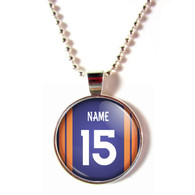 Personalized Denver Broncos Cabochon Glass Necklace With Name and Number