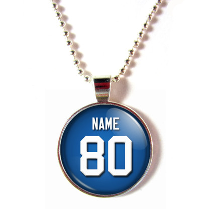 Personalized New York Giants Cabochon Glass Necklace With Name and Number