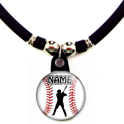 Personalized baseball left handed batter necklace with your name