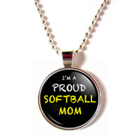 Proud Softball Mom Cabochon Glass Necklace