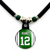 Personalized New York Jets jersey necklace with name and number