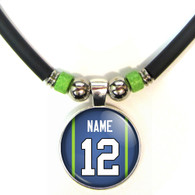 Personalized Seattle Seahawks 3D Glass Pendant Necklace With Name and Number