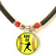 Personalized  Softball Batter 3D Glass Pendant Necklace With Name & Number