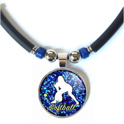 Softball Girl Silhouette 3D Abstract Glass Pendant Necklace