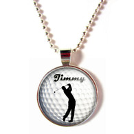 Personalized 3D Glass Golf Ball Necklace With Your Name (Male)