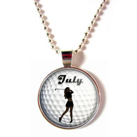 Personalized 3D Glass Golf Ball Necklace With Your Name (Female)