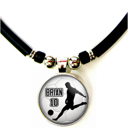 Personalized Soccer Player Silhouette 3D Glass Pendant Necklace With Name & Number