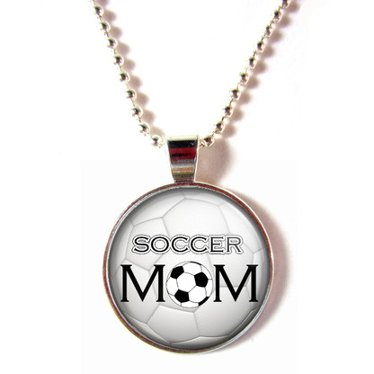Soccer Mom 3D Glass Pendant Ball Chain Necklace