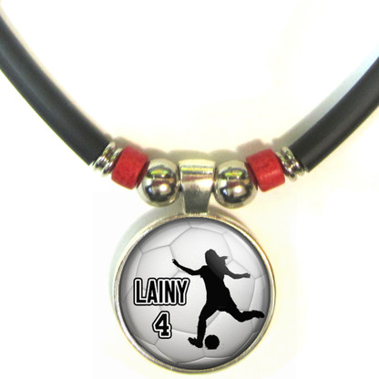 Personalized Soccer Girl Silhouette 3D Glass Pendant Necklace With Name & Number