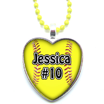 Personalized Heart Shaped Yellow Chain Softball Glass Pendant Necklace With  Your Name and Number