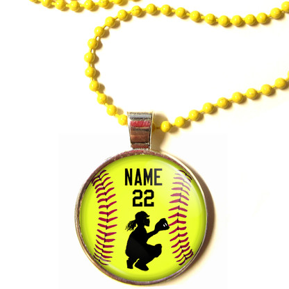 "Personalized Yellow Chain 1"" Diameter Softball Catcher Pendant Necklace with Your Name and Number"