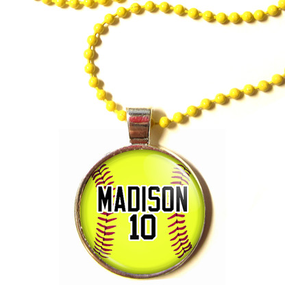 """Personalized Yellow Chain 1"""" Diameter Softball Pendant Necklace with Your Name & Number"""