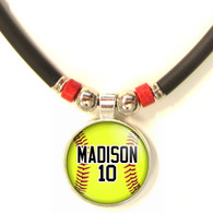 Personalized  Softball 3D Glass Pendant Necklace With Name & Number
