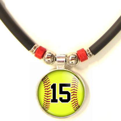 Personalized Softball 3D Glass Pendant Necklace With Your Number