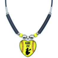 Personalized Yellow Softball Catcher Heart 3D Glass Pendant Necklace With Your Name and Number