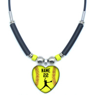 Personalized Yellow Softball Pitcher Heart 3D Glass Pendant Necklace With Your Name and Number