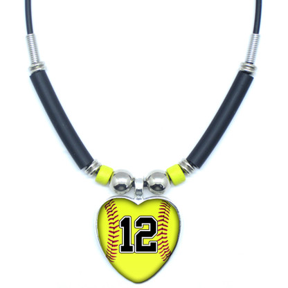 Personalized Yellow Softball Heart 3D Glass Pendant Necklace With Your Number