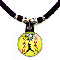 Personalized softball pitcher necklace with your name and number