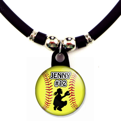 Personalized softball Catcher necklace with your name and number