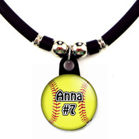 Personalized softball necklace with your name and number