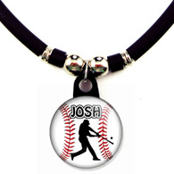 Personalized baseball batter necklace with your name