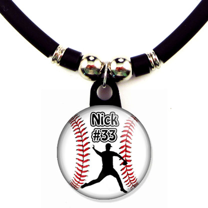 Personalized baseball pitcher necklace with your name and number