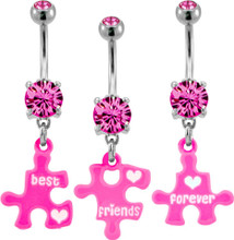 BEST FRIENDS FOREVER THREE PIECE BELLY RING SET