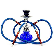 Blue Double Hose Pumpkin Hookah