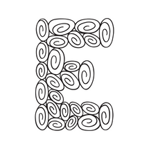 E is for easy! Track your progress by coloring in one swirl at a time.