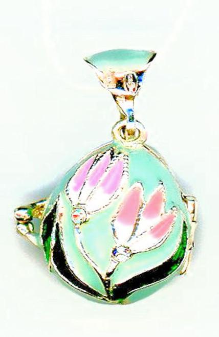 Silver egg Pendant : Pink Tulip, Angel inside .925 Silver