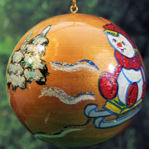 Christmas Ornament, Sleding in the Snow