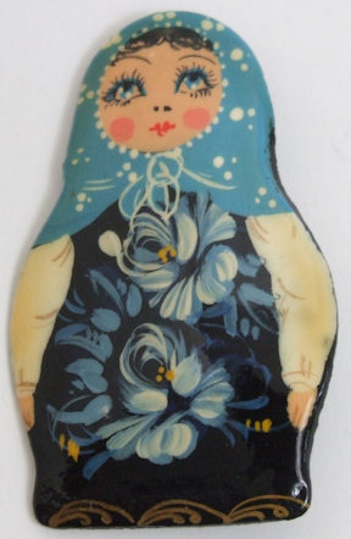 Handpainted Lacquered Brooch of a Matroyshka