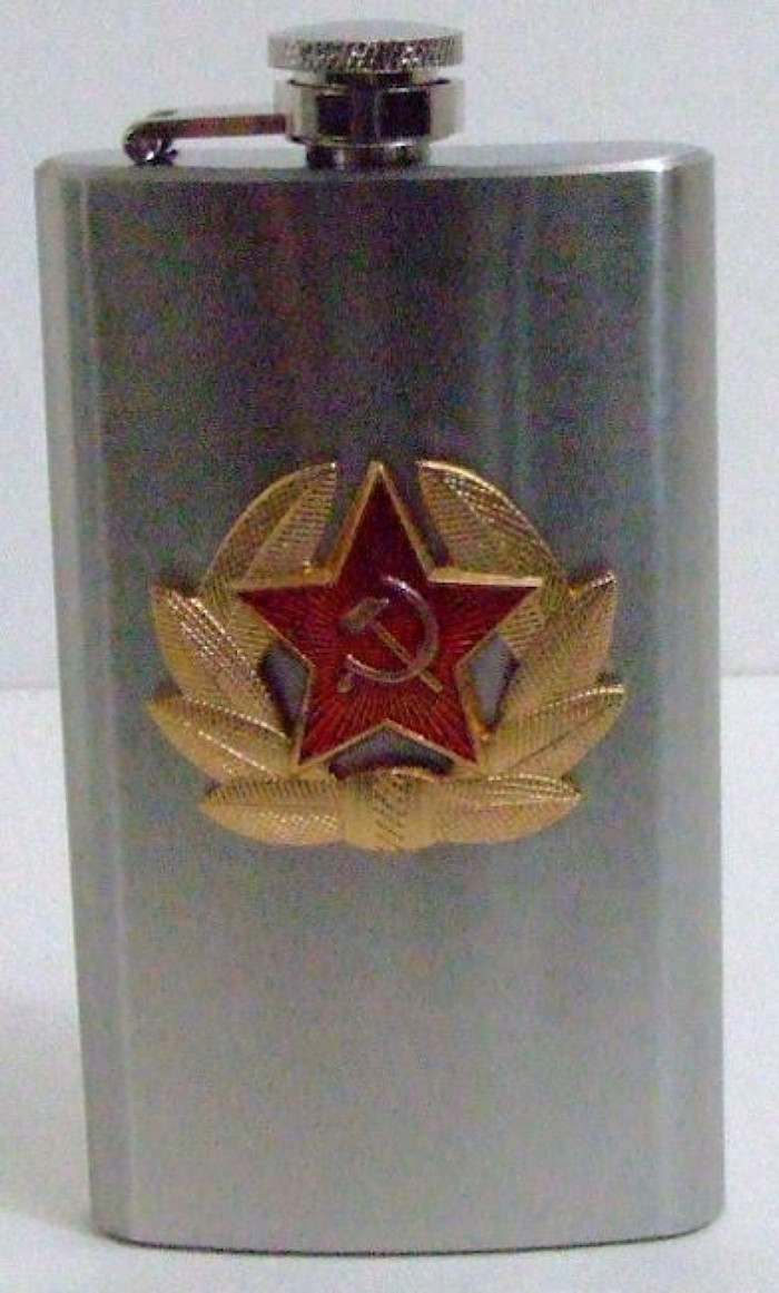 6oz Russian Military Stainless Steel Drinking Flask Soviet Red Army Emblem