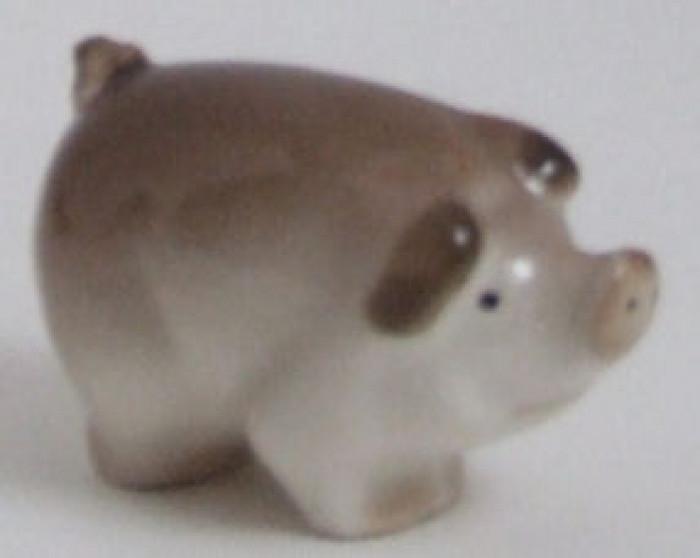 Lomonosov Porcelain Animal Figurine of a Gray PIG