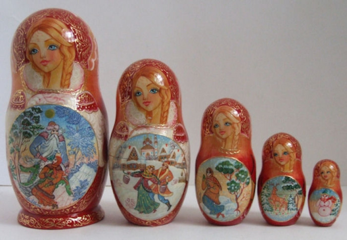 "5pcs Russian Nesting ""Morozko Father Frost"" by Korelina"