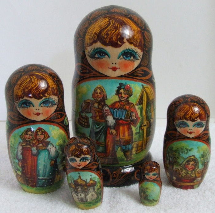 "5pcs. Russian Nesting Doll ""Meeting at the Well"" by Samsonov"