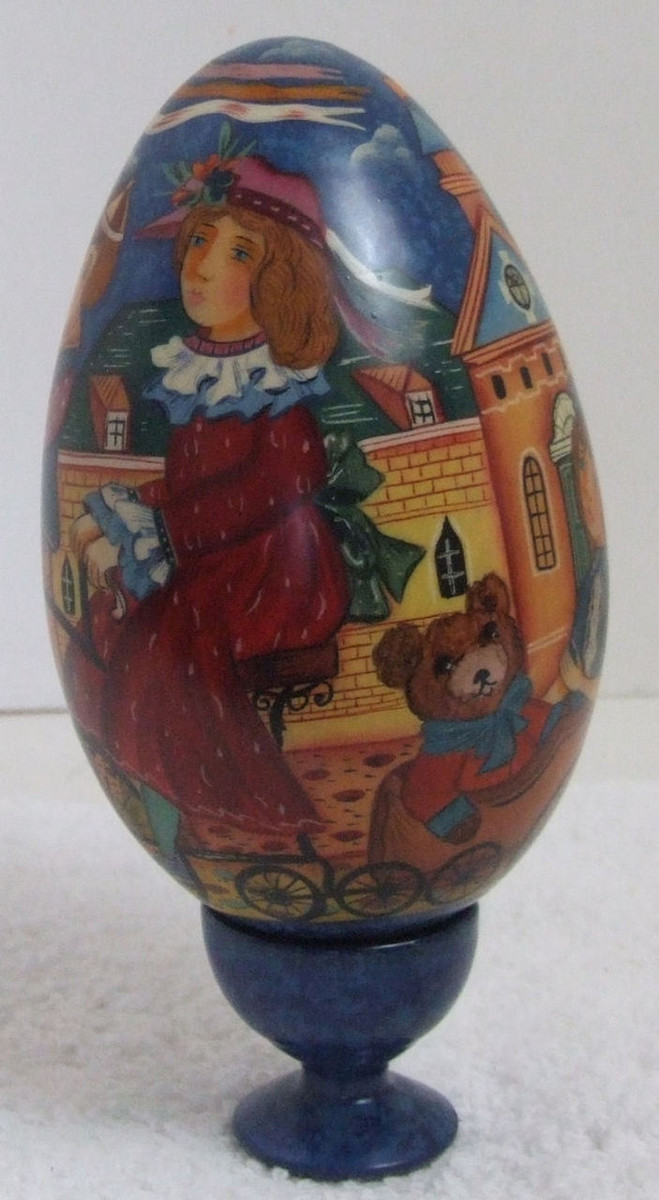 Handpainted One of a Kind Wooden Egg by Olga Drevina
