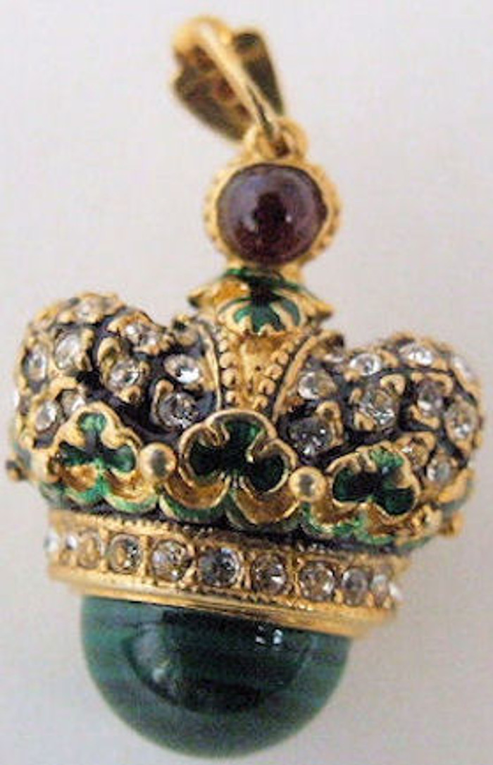 Faberge Egg Pendant Crown w/ Onyx
