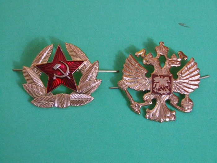 2 Russian Badges Soviet Red Army and The Double Headed Imperial Eagle