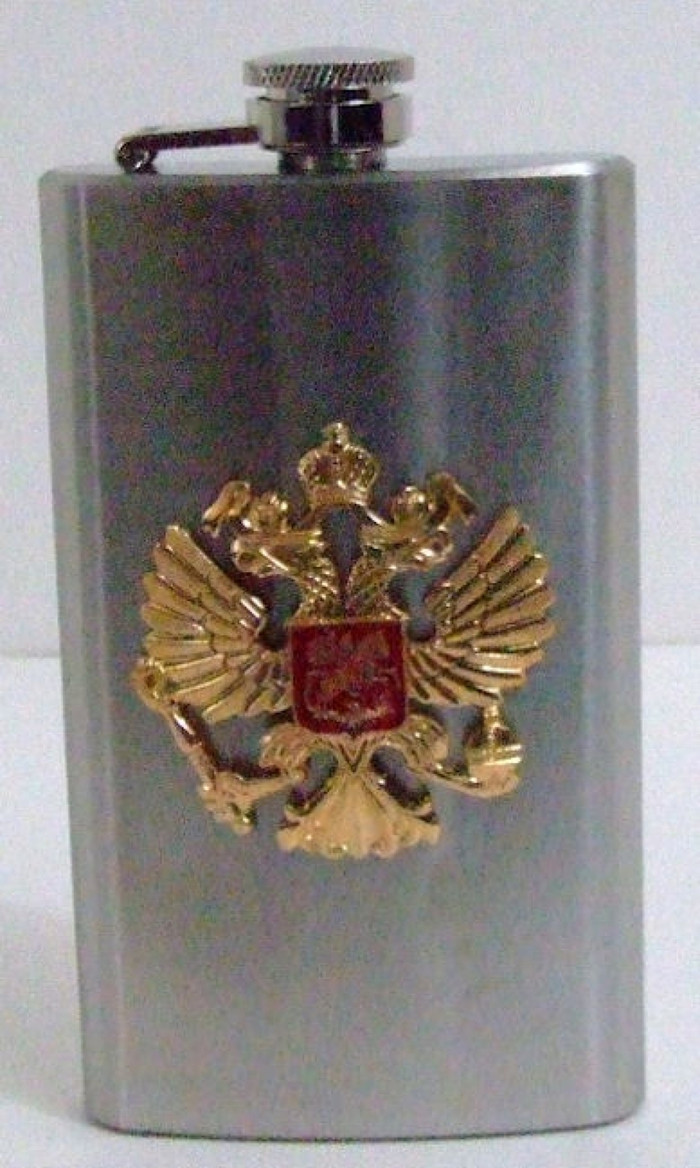 6 oz Russian Drinking Flask Imperial Eagle Emblem