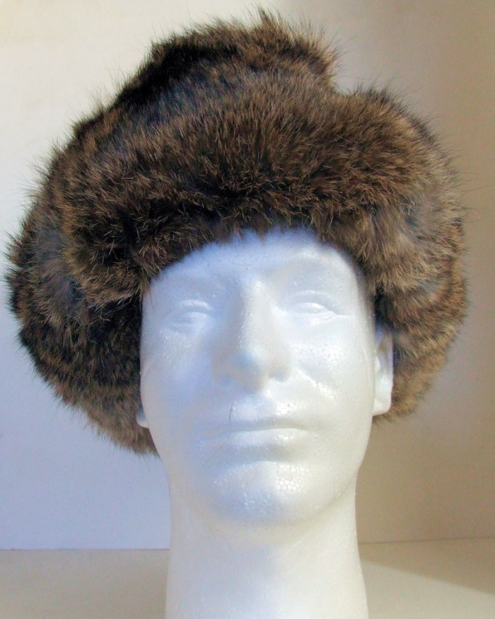 Authentic Russian 100% Rabbit Fur Ushanka Gray and Brown Color Ear Flap Hat