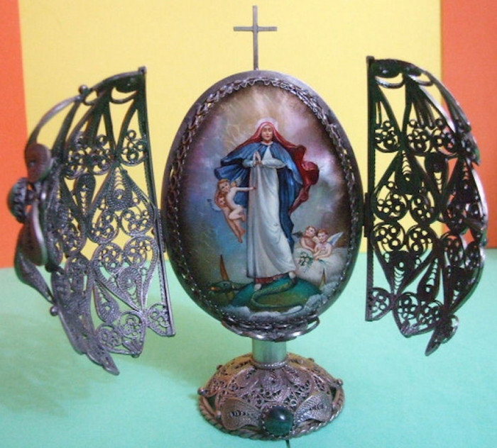 Russian Faberge Egg Replica Metal Caged with Silver
