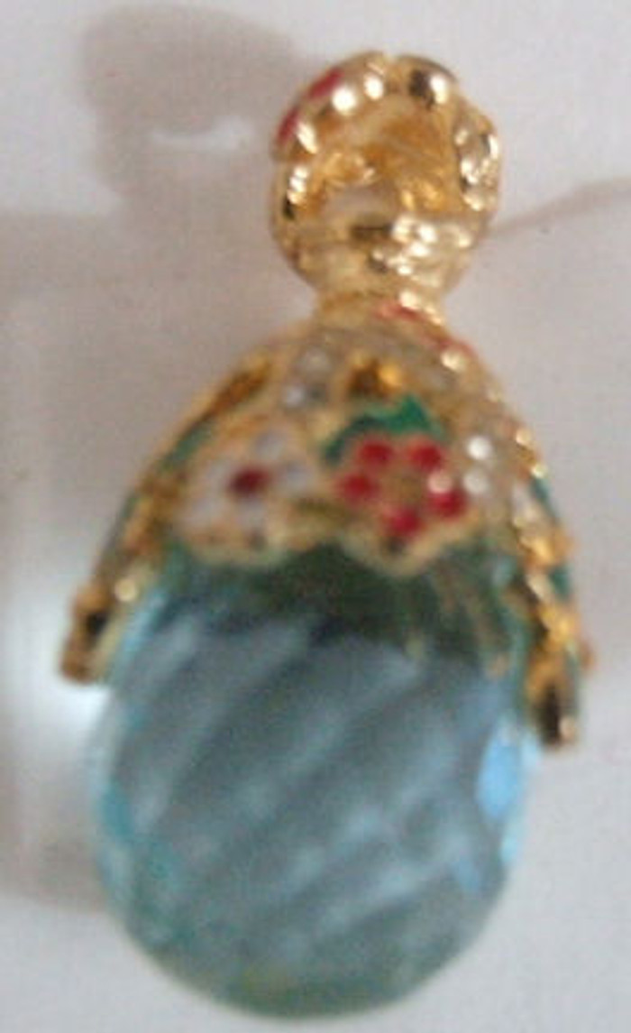 Faberge Egg Pendant #15205 Crystal Glass w/ Flowers