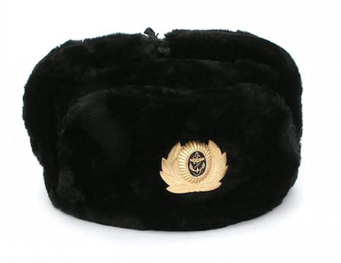 Authentic Russian Military Black Ushanka Hat Navy Sailor
