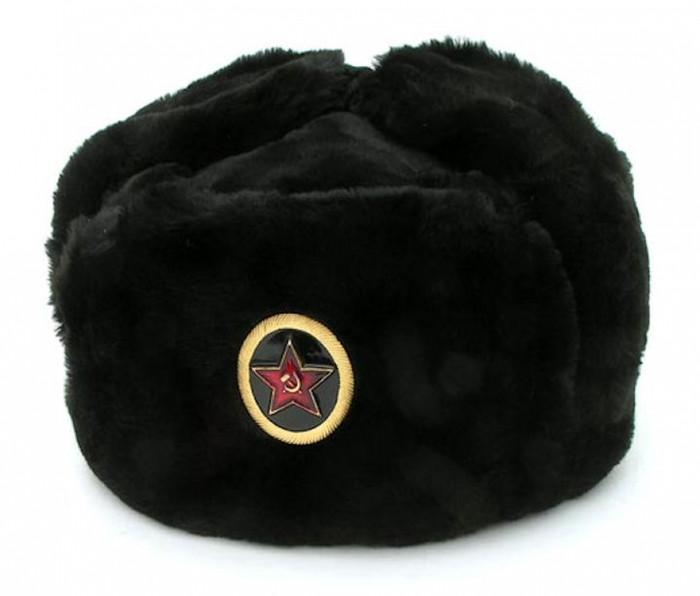 Authentic Russian Military Black Ushanka Hat w/ Big Red Star General Badge