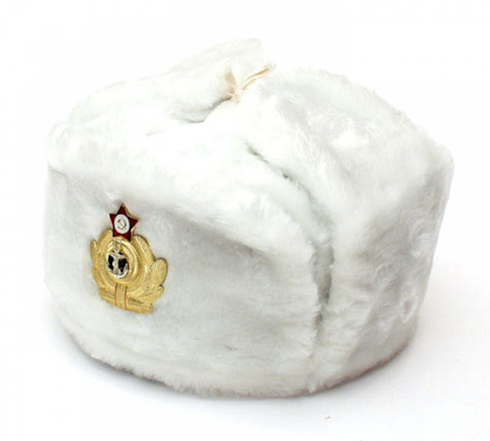 Authentic Russian Military White Ushanka Hat Anchor and Red Star