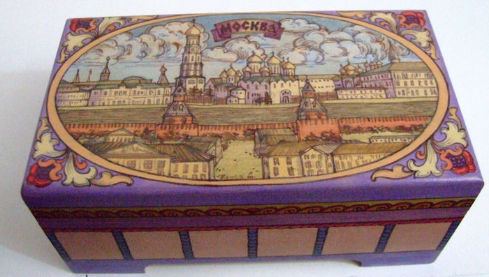 "Handpainted Wooden Box ""OLD MOSCOW"" By Dimitry Zhukov"