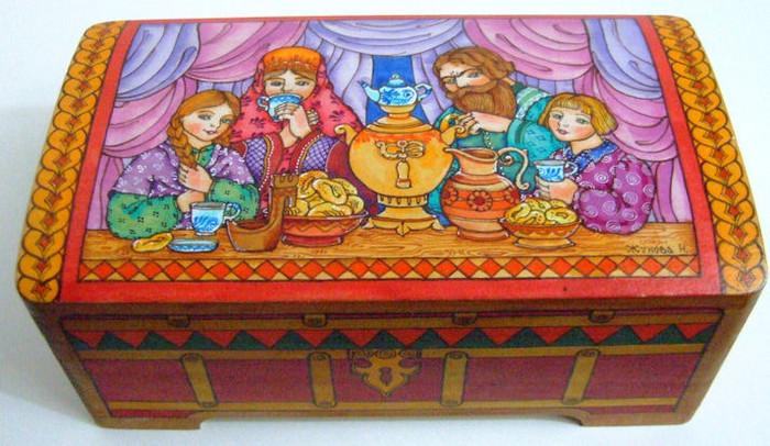 "Handpainted Wooden Box ""Russian Family"" By Dimitry Zhukov"