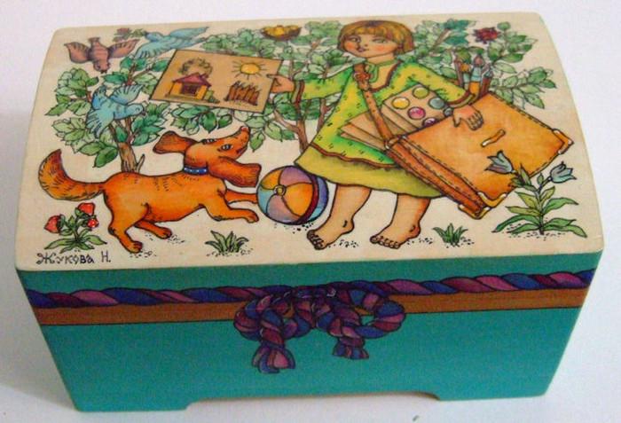 "Handpainted Wooden Box ""Child and her art"" By Dimitry Zhukov"